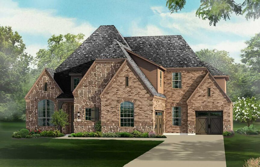 Highland Homes Plan 615 Elevation A in The Grove Frisco