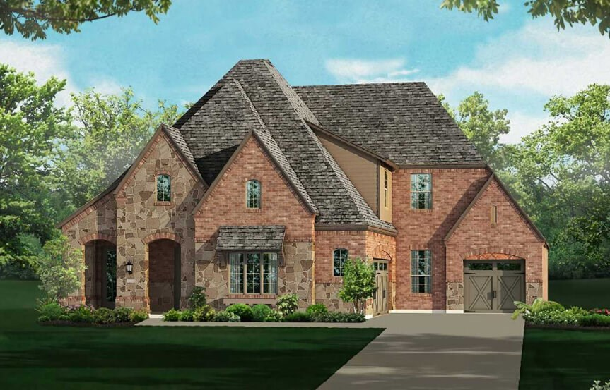 Highland Homes Plan 615 Elevation E in The Grove Frisco