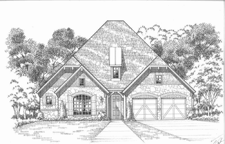 American Legend Plan 632 Elevation A Stone in The Grove Frisco