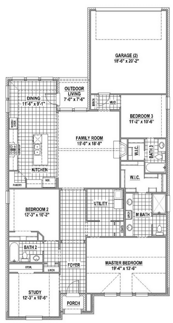 American Legend Plan 1551 Floorplan in The Grove Frisco