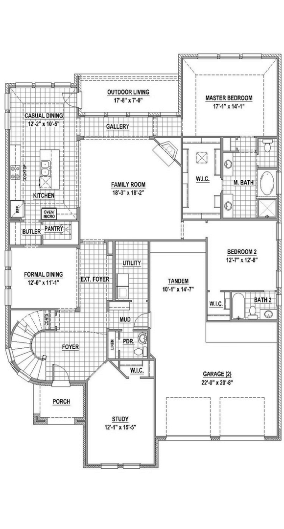 American Legend 1609 Floorplan Lower in The Grove Frisco