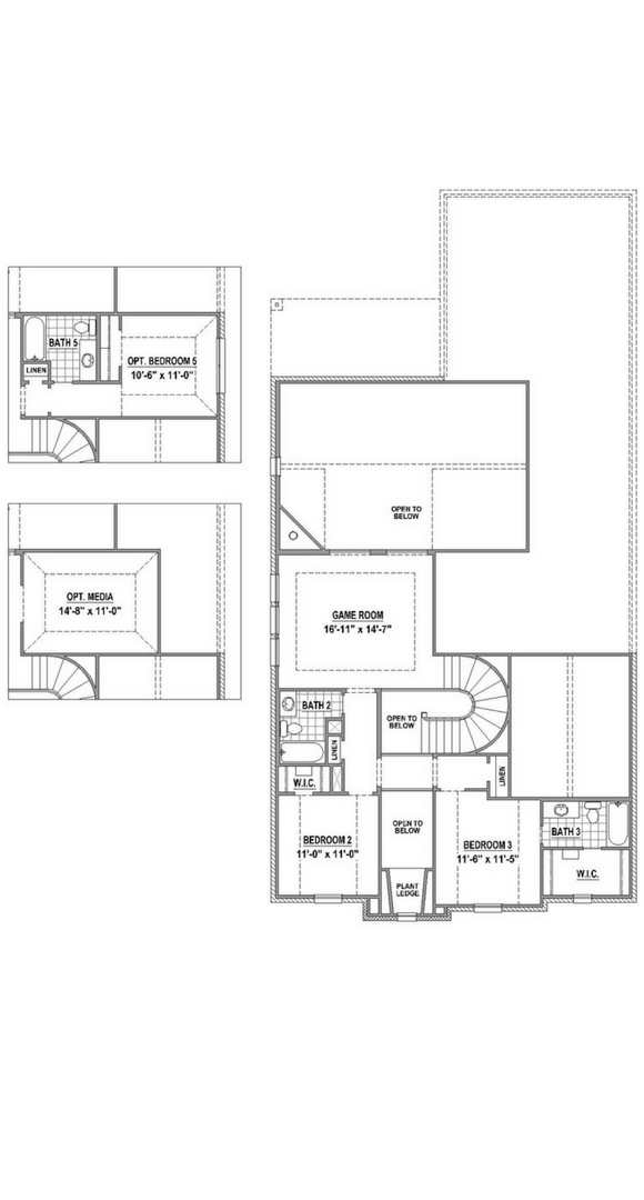 American Legend Plan 1558 Floorplan Upper in The Grove Frisco