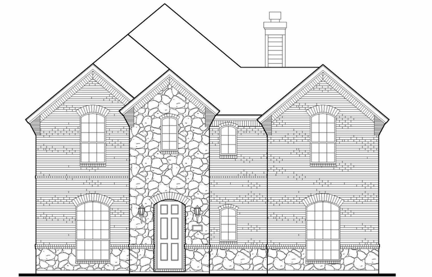 American Legend Plan 1556 Elevation A Stone in The Grove Frisco