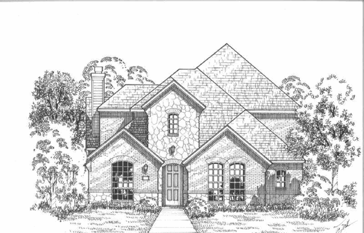 American Legend Plan 1555 Elevation A Stone in The Grove Frisco