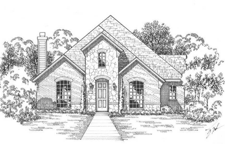 American Legend Plan 1553 Elevation A Stone in The Grove Frisco