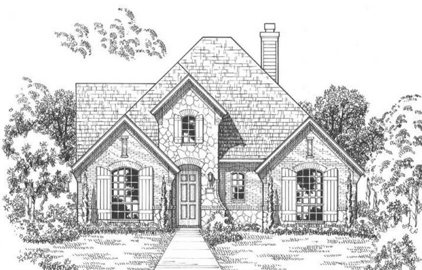 American Legend Plan 1552 Elevation C Stone in The Grove Frisco