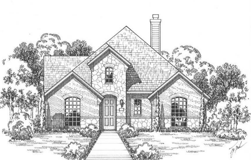 American Legend Plan 1552 Elevation A Stone in The Grove Frisco