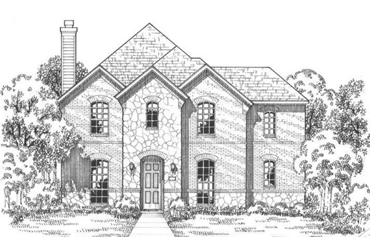 American Legend Plan 1558 Elevation A Stone in The Grove Frisco