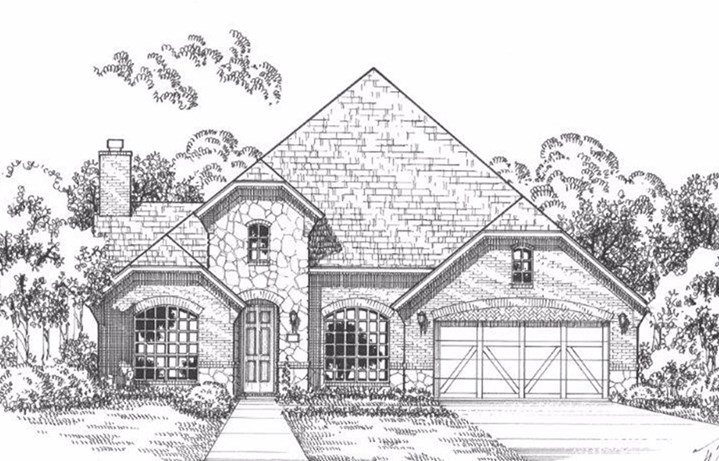 American Legend Plan 1619 Elevation A Stone in The Grove Frisco