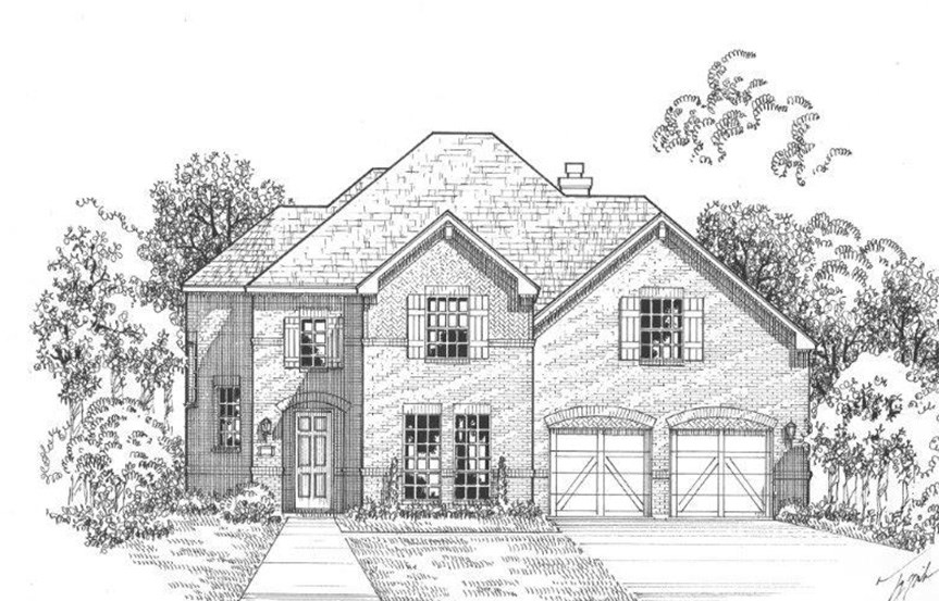 American Legend Plan 1607 Elevation A Stone in The Grove Frisco