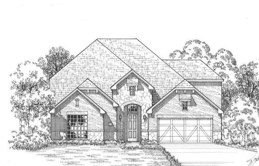 American Legend Plan 1609 Elevation A Stone in The Grove Frisco