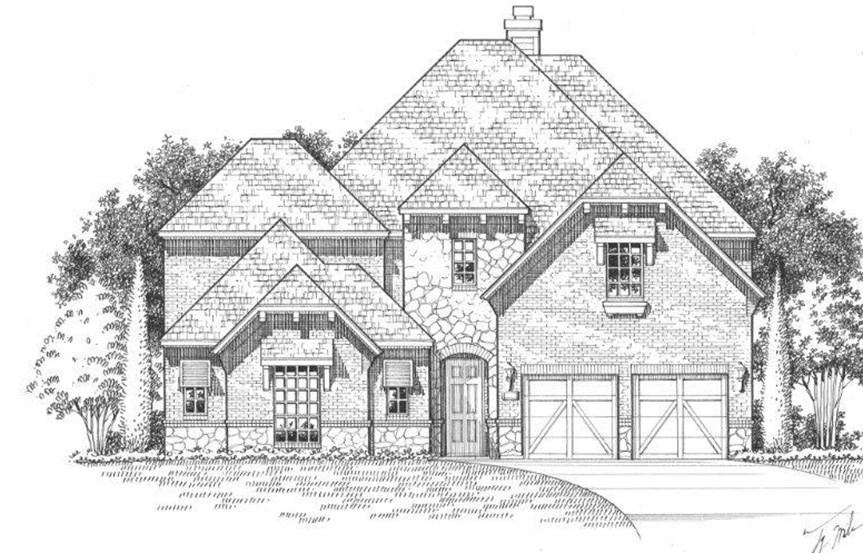 American Legend Plan 609 Elevation B Stone in The Grove Frisco