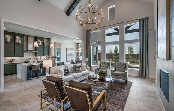 Model home living and kitchen - Southgate Homes at The Grove Frisco