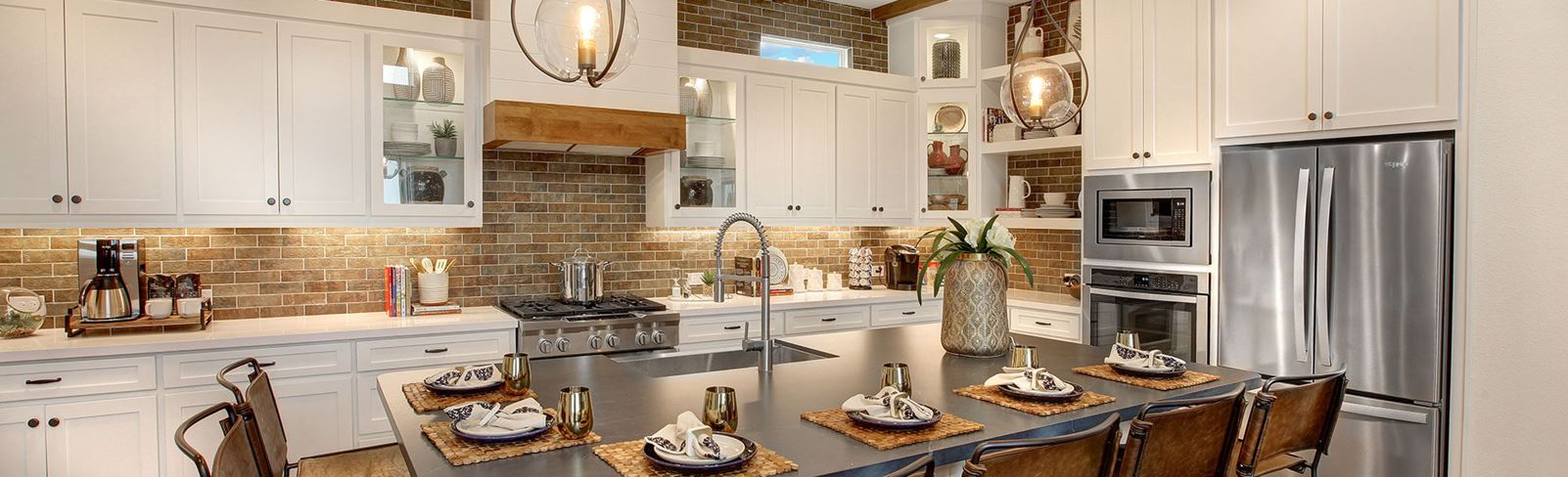Model Home Kitchen by Drees Custom Homes at The Grove Frisco