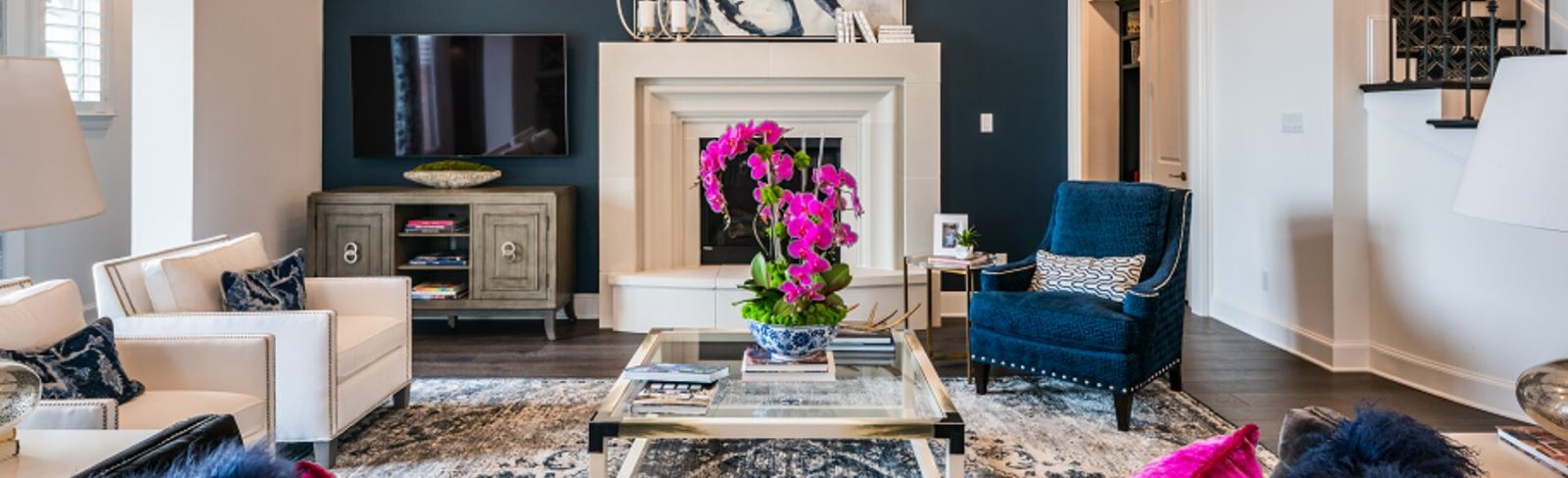 Model Home Living Room by Highland Homes at The Grove Frisco