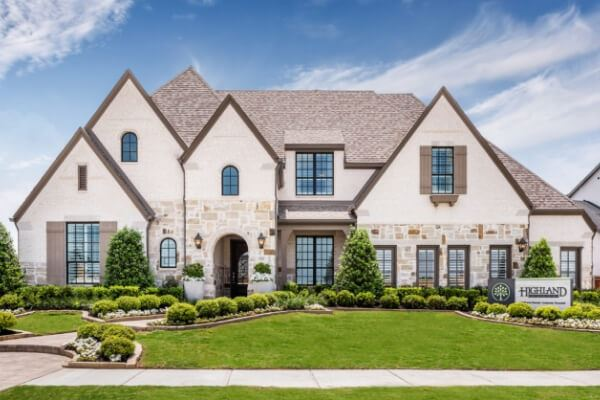 Model Home Exterior by Highland Homes at The Grove Frisco