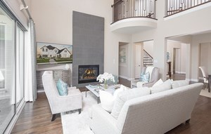 Plan 1620 model home living room - American Legend Homes at The Grove Frisco