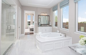 Plan 1620 model home Owner's Bath - American Legend Homes at The Grove Frisco