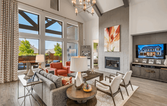 Model home great room - Madison III by Southgate Homes at The Grove Frisco