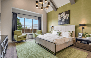 Model home master bedroom - Madison III by Southgate Homes at The Grove Frisco