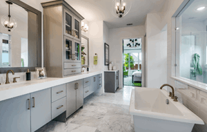 Model home master bathroom - Madison III by Southgate Homes at The Grove Frisco