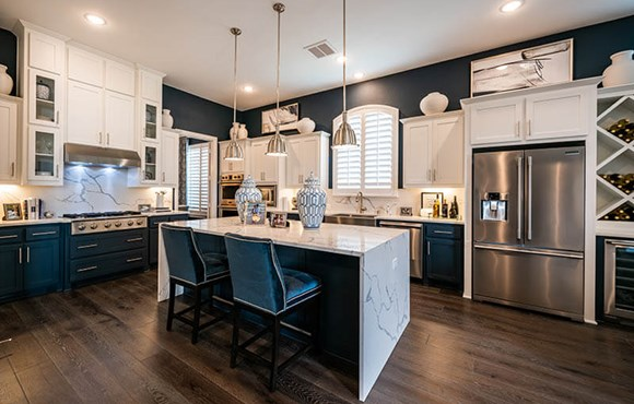 Model home kitchen - Highland Homes at The Grove Frisco