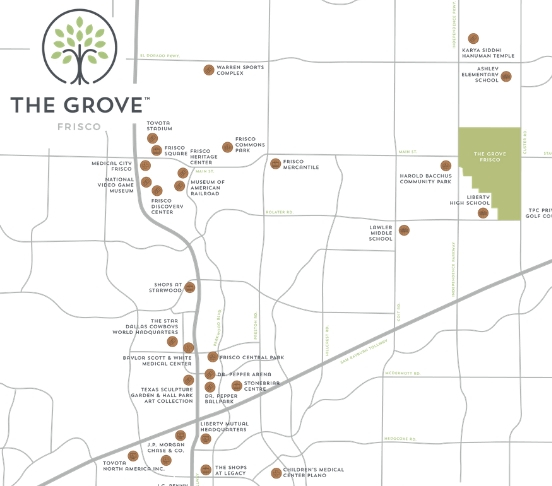Explore nearby surroundings of The Grove Frisco on