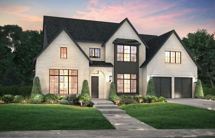 Southgate homes plan everly elevation A in the Grove Frisco