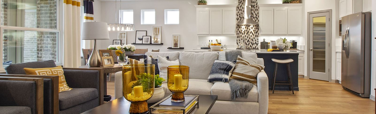 Landon Homes New Home Living Room at The Grove Frisco community