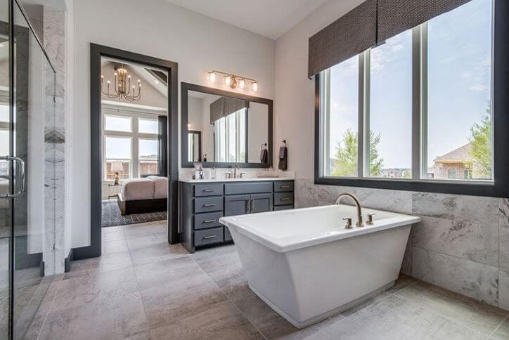 Southgate Homes Model Master Bathroom at The Grove Frisco, a new home community in Frisco, TX