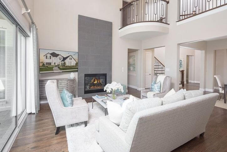 American Legend Homes Model Family Room at The Grove Frisco, a new home community in Frisco, TX
