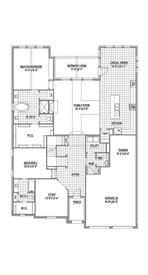 American Legend Plan 1632 first floor in The Grove Frisco