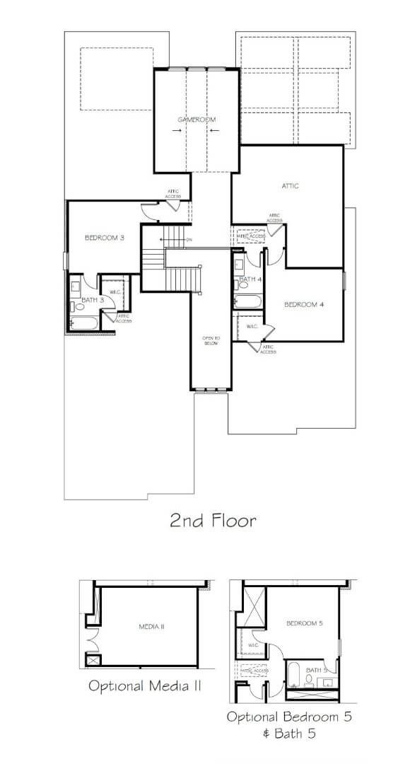 Southgate Homes Savannah Floorplan Level 2 in the Grove Frisco