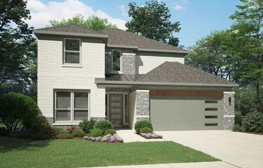 Elevation E 4185 Monet Plan Trophy Signature Homes in the Grove Frisco