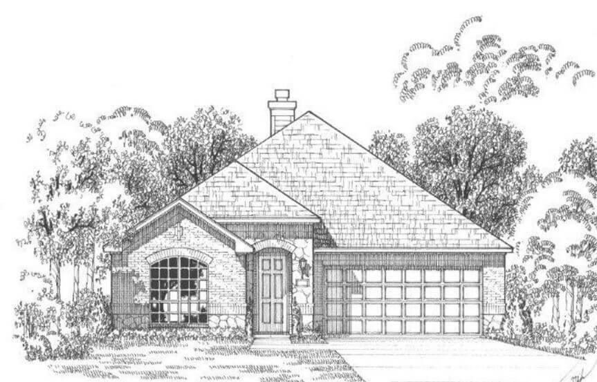 Plan 1152 Elevation A Stone American Legend in The Grove Frisco