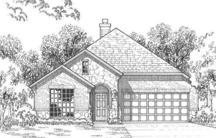Plan 1152 Elevation B Stone American Legend in the Grove Frisco