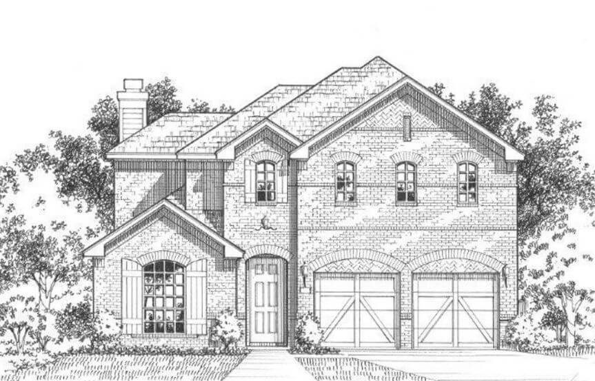American Legend Plan 1504 Elevation A in The Grove Frisco