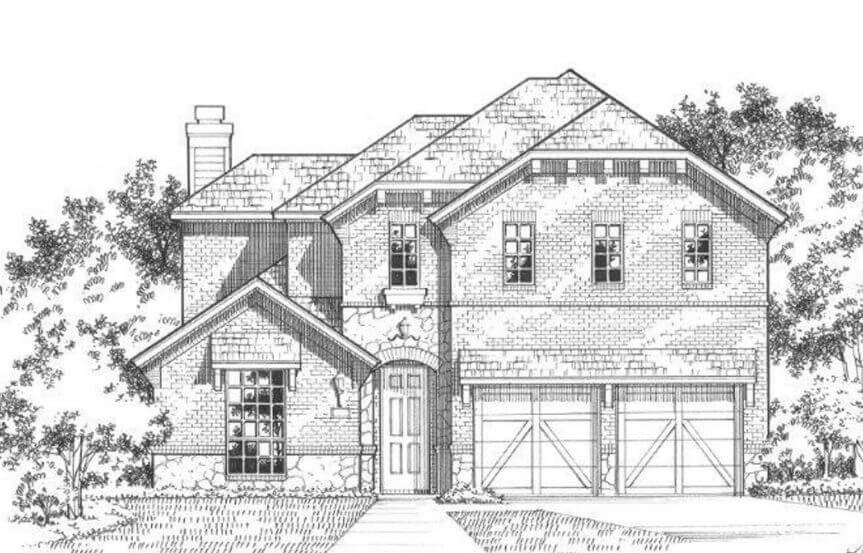 American Legend Plan 1504 Elevation B in The Grove Frisco