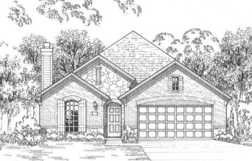 American Legend Plan 1120 Elevation B in The Grove Frisco