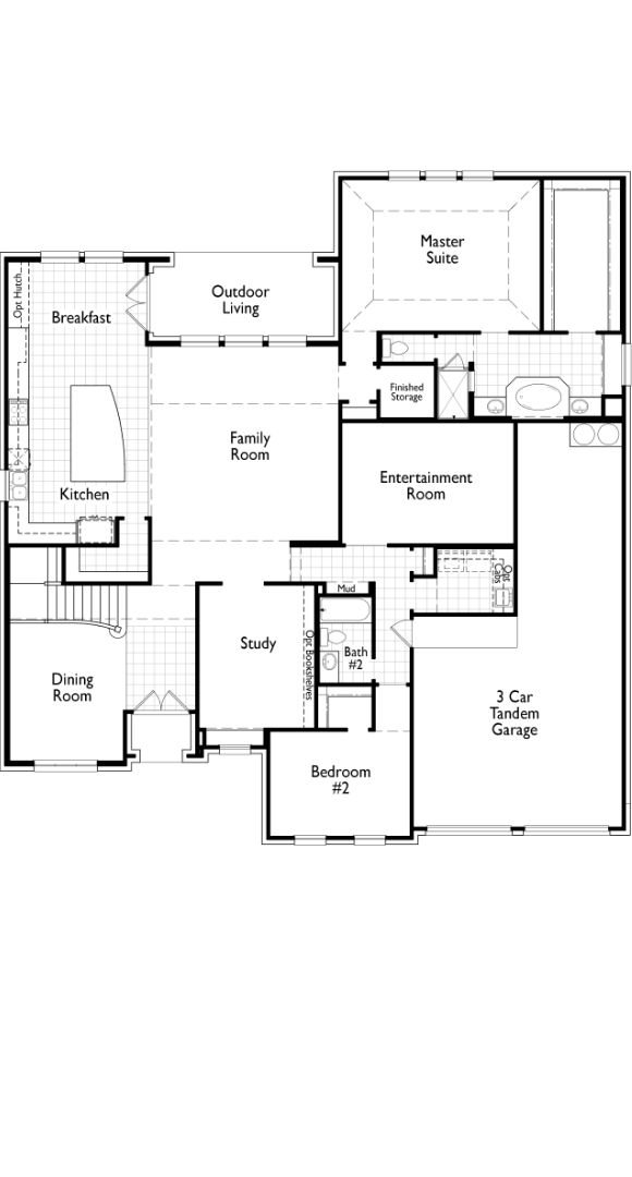 Highland Homes Floorplan 277 First Floor in The Grove Frisco