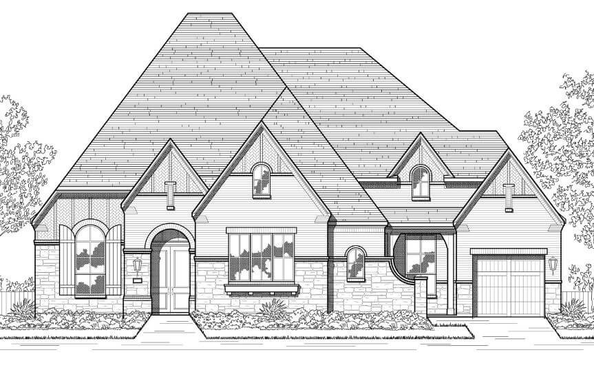 Elevation D Plan 282 Highland Homes in The Grove Frisco